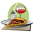 hot pizza and wine vector image vector image