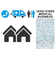 Houses Icon with 1000 Medical Business Pictograms vector image vector image