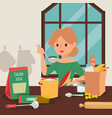 housewife cooking dinner in kitchen vector image