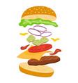 jumping burger cheeseburger with ingredients vector image