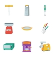 Kitchen set icons in flat style Big collection of vector image