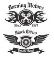 Motorcycle label black vector image vector image
