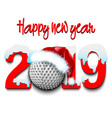 new year numbers 2019 and golf ball vector image vector image