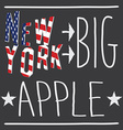 new york big apple typography poster t-shirt vector image vector image