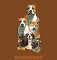 postcard with dogs different breeds 9 vector image