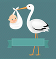 Poster Stork With Baby Boy vector image vector image