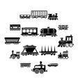 railway carriage icons set simple style vector image vector image