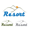 resort emblem with mountain and sun vector image vector image