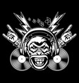 rock and roll music print angry monkey head vector image vector image