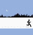 runner runs while leaving footprints vector image