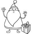 santa claus cartoon coloring page vector image vector image