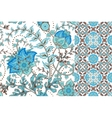 set floral seamless background and border vector image vector image