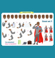 set of businessman presenting in various action vector image vector image
