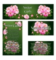 Set of four cards with the image of pink roses vector image vector image