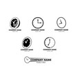 set of time clock logo design template vector image vector image