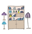Shelf and lamps - design elements vector image