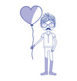 silhouette man with mustache and heart balloon in vector image vector image