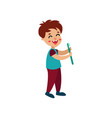 smiling little boy character holding toothbrush vector image vector image