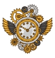 steampunk clock collage metal gears in doodle vector image