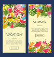 summer cocktails flamingo palm leaves vector image vector image
