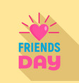 sunny heart friends day logo flat style vector image vector image