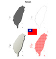 Taiwan outline map set vector image vector image