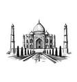 taj mahal hand drawn palace india sketch vector image