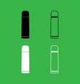 thermos or vacuum flask icon black and white vector image