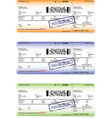three variants of boarding pass ticket patterns vector image vector image