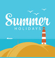 travel summer banner with sea and lighthouse vector image vector image