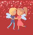 valentine red card dating girl and boy vector image vector image