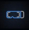 virtual helmet neon sign vr games vector image