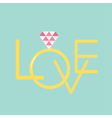 Wedding gold ring with polygonal pink diamond vector image vector image