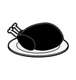 whole chicken on plate icon image vector image vector image