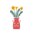 yellow flowers in red vase beautiful bouquet of vector image vector image