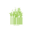 zero waste conceptual logotype with barcode bamboo vector image