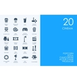 Set of BLUE HAMSTER Library cinema icons vector image
