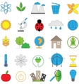 Set of line modern color icons for green energy vector image