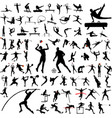 80 high quality sport silhouettes collection vector image vector image