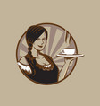 a lady with a cup coffee logo vector image