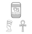 ancient egypt outline icons in set collection for vector image vector image
