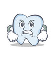 angry face tooth character cartoon style vector image