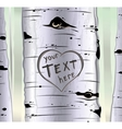 Birch tree with carved hearts and place for text vector image