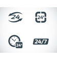 black 24 hours icons set vector image vector image