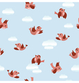 blue seamless texture with birds vector image