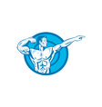 Bodybuilder Flexing Muscles Pointing Side Retro vector image vector image
