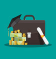 business briefcase graduation cap money diploma vector image vector image