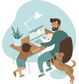 busy father working from home with kids and dog vector image
