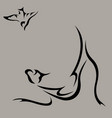 cat hunts for a bird vector image vector image