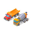 cement-mixer and lorry poster vector image vector image